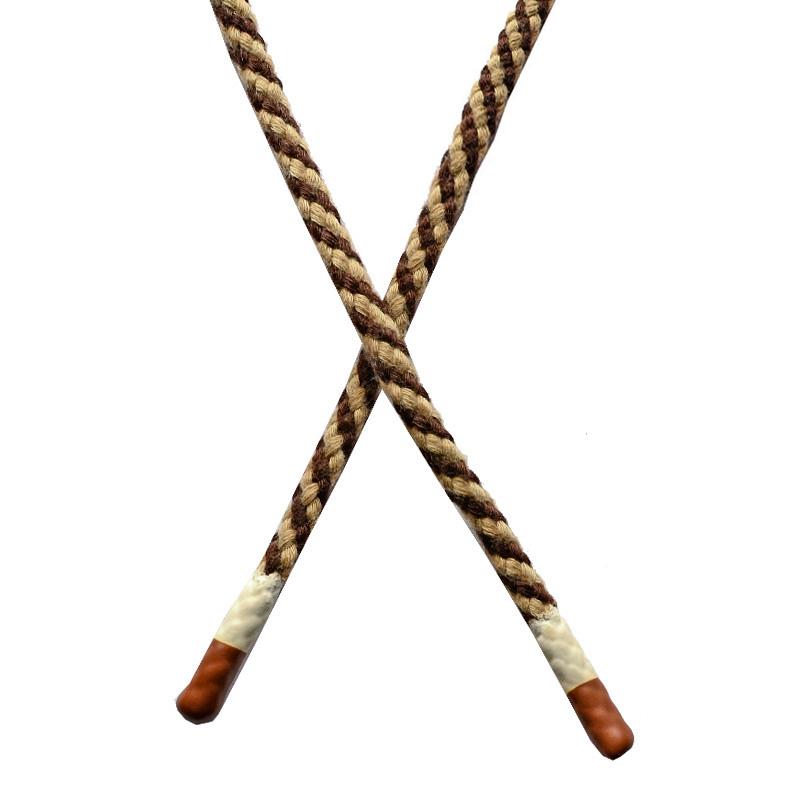 Шнур круглый плетенный хлопок 0,5*130см с наконечником, цв:коричневый/бежевый