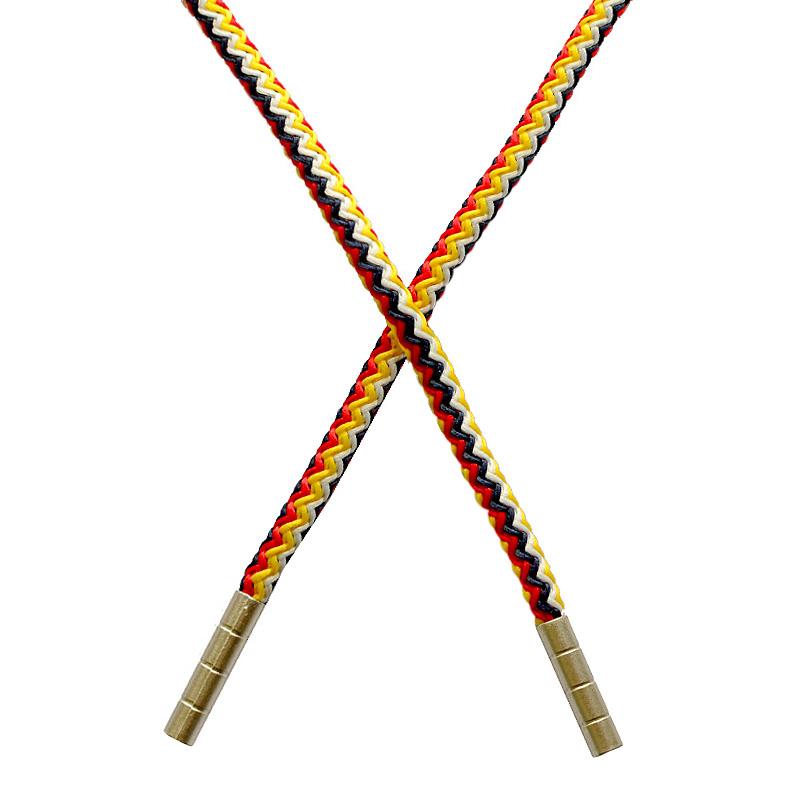 Шнур круглый полиэстер 0,5*125-130см с наконечником, цв:мультиколор