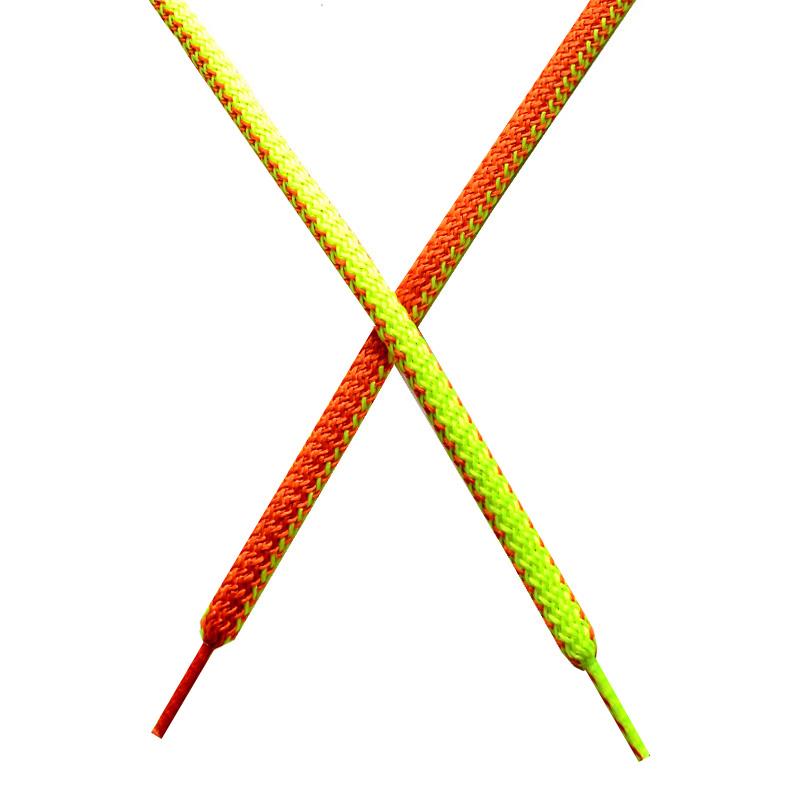 Шнур круглый поликоттон плетенный 0,5*125-130см с наконечником, цв:лимонный неон/тераккот