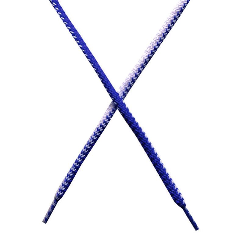 Шнур круглый поликоттон плетенный 0,5*125-130см с наконечником, цв:синий/белый