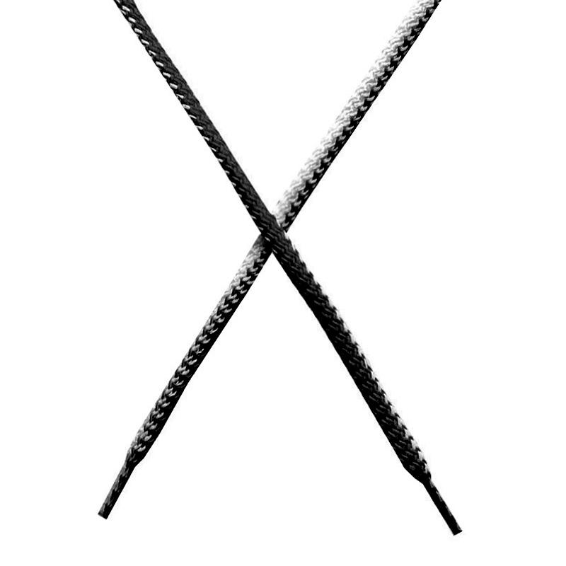 Шнур круглый поликоттон плетенный 0,5*125-130см с наконечником, цв:черный/белый