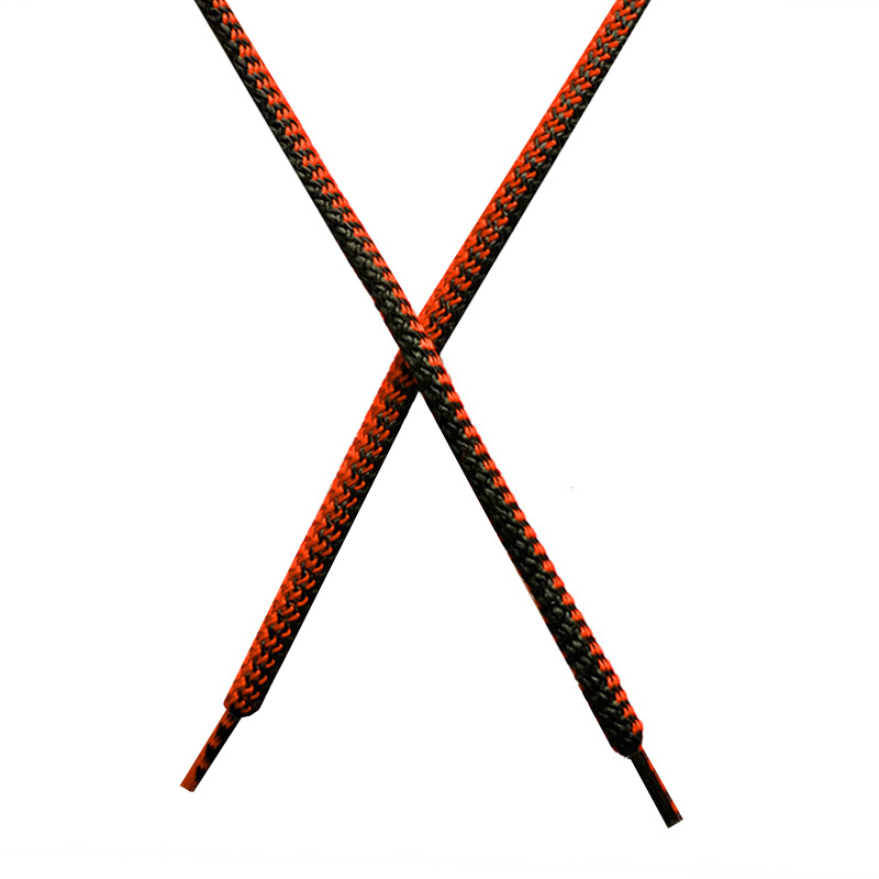 Шнур круглый поликоттон плетенный 0,5*125-130см с наконечником, цв:черный/тераккот