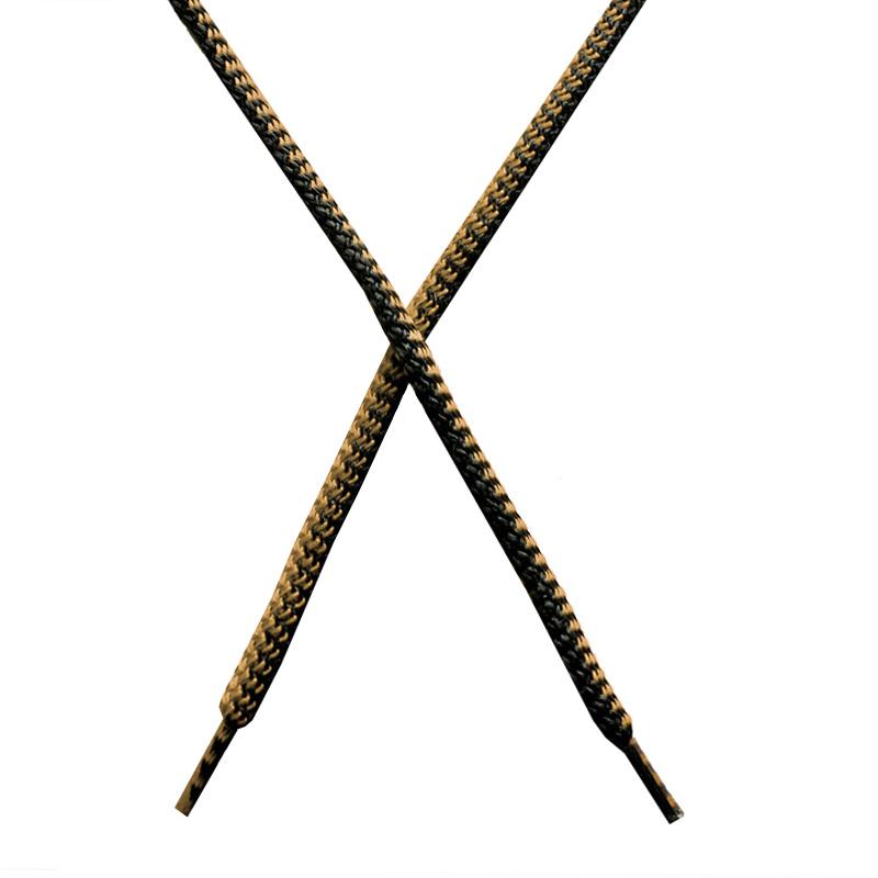 Шнур круглый поликоттон плетенный 0,5*125-130см с наконечником, цв:черный/бежевый