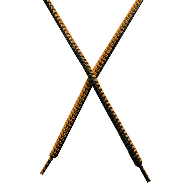 Шнур круглый поликоттон плетенный 0,5*125-130см с наконечником, цв:черный/охра