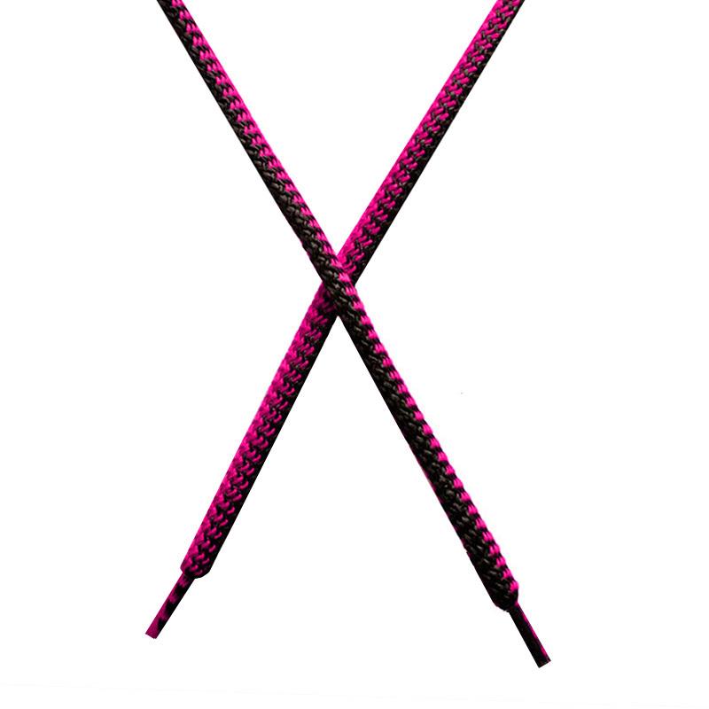 Шнур круглый поликоттон плетенный 0,5*125-130см с наконечником, цв:черный/фуксия