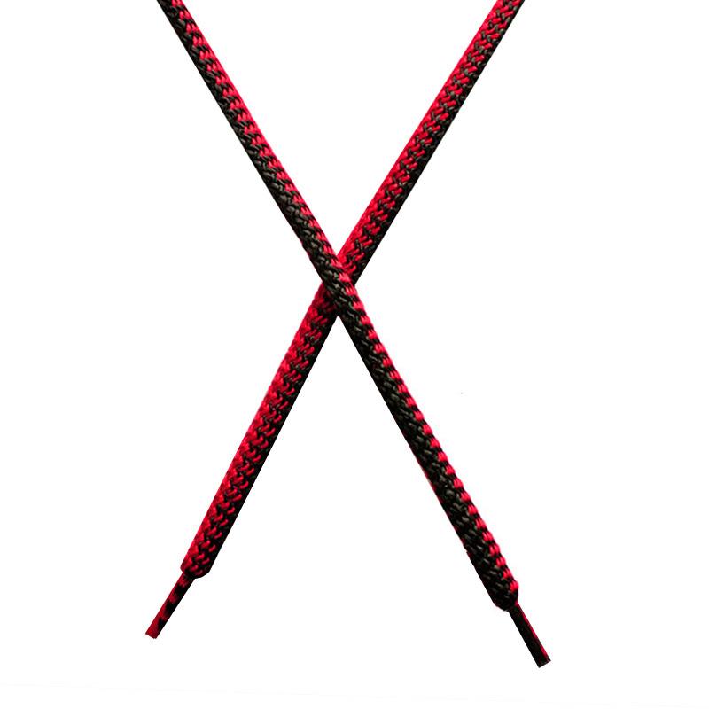 Шнур круглый поликоттон плетенный 0,5*125-130см с наконечником, цв:черный/алый