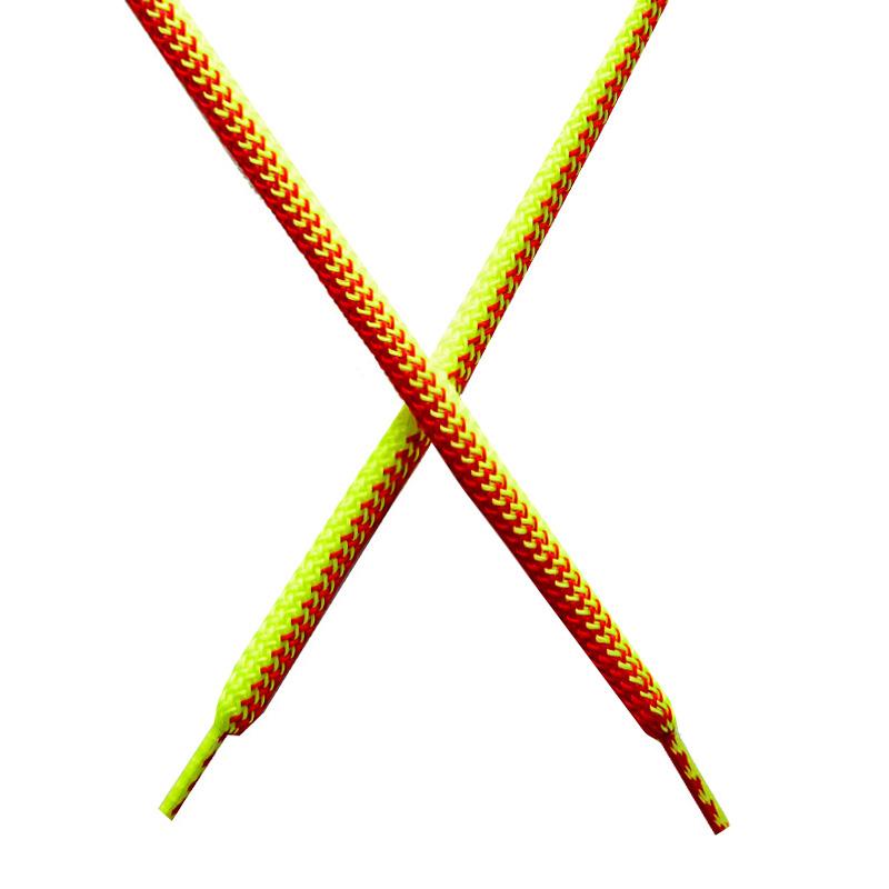 Шнур круглый поликоттон плетенный 0,5*125-130см с наконечником, цв:лимонный неон/алый