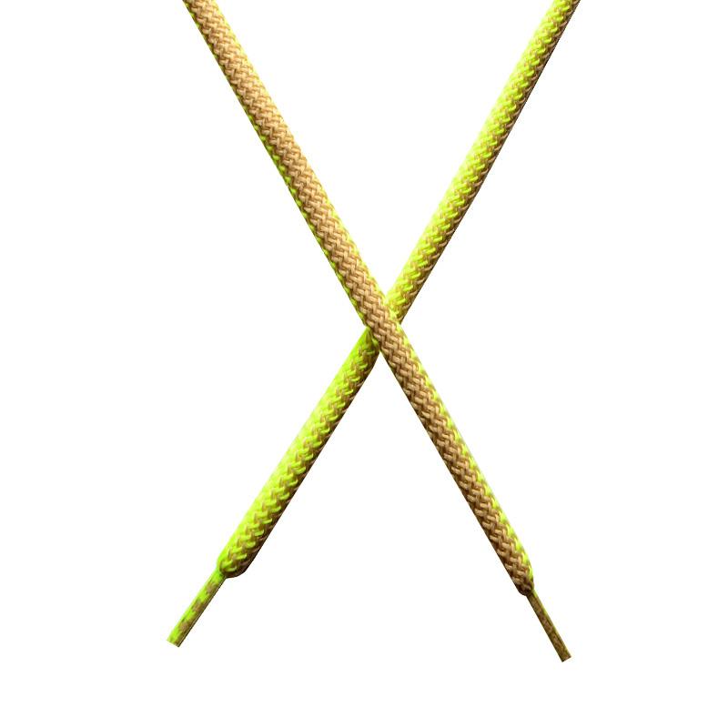 Шнур круглый поликоттон плетенный 0,5*125-130см с наконечником, цв:лимонный неон/св.бежевый