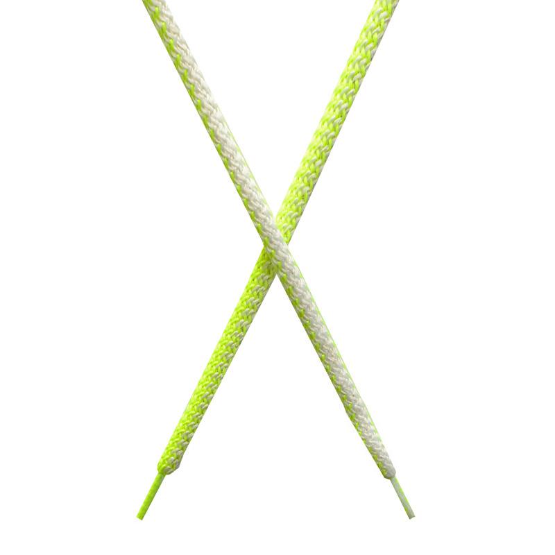 Шнур круглый поликоттон плетенный 0,5*125-130см с наконечником, цв:лимонный неон/белый