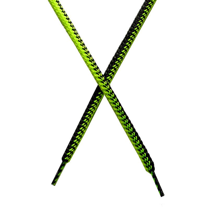 Шнур круглый поликоттон плетенный 0,5*125-130см с наконечником, цв:лимонный неон/черный