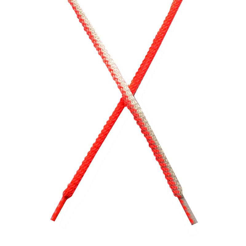 Шнур круглый поликоттон плетенный 0,5*125-130см с наконечником, цв:розовый неон/белый