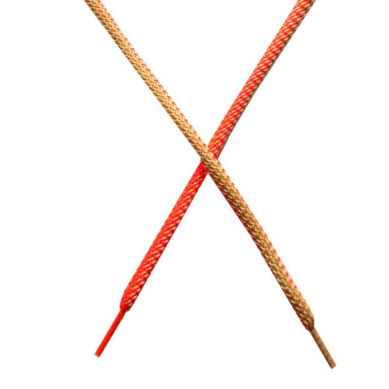 Шнур круглый поликоттон плетенный 0,5*125-130см с наконечником, цв:розовый неон/бежевый