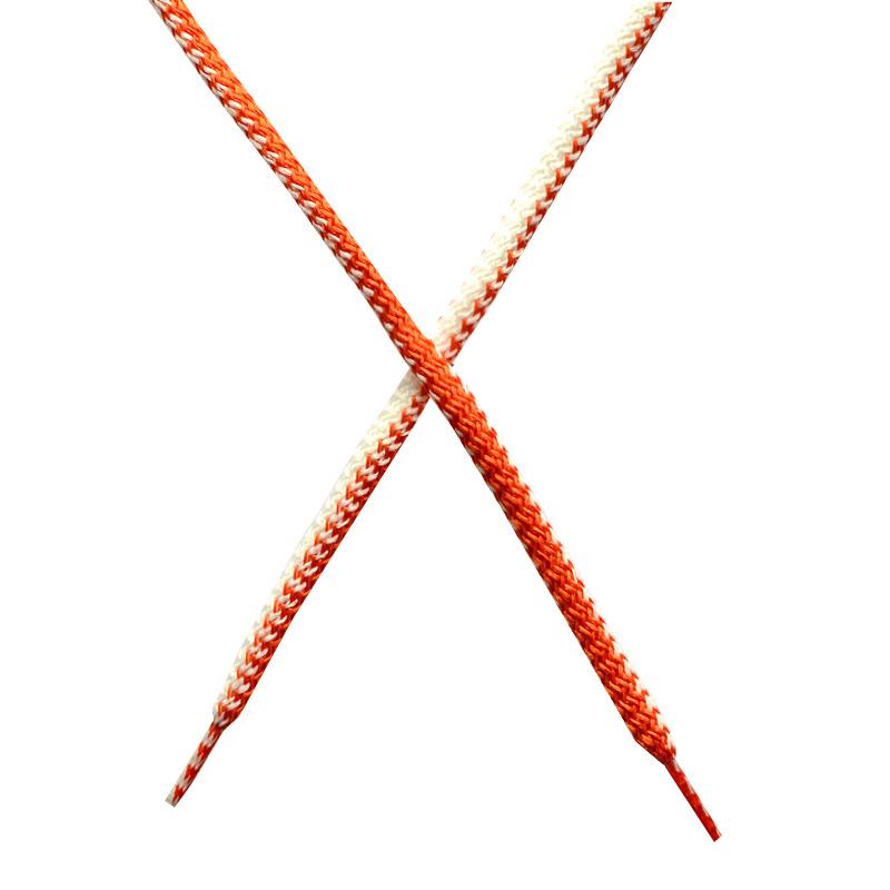Шнур круглый поликоттон плетенный 0,5*125-130см с наконечником, цв:белый/тераккот