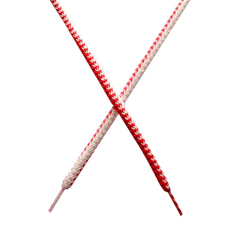 Шнур круглый поликоттон плетенный 0,5*125-130см с наконечником, цв:белый/алый