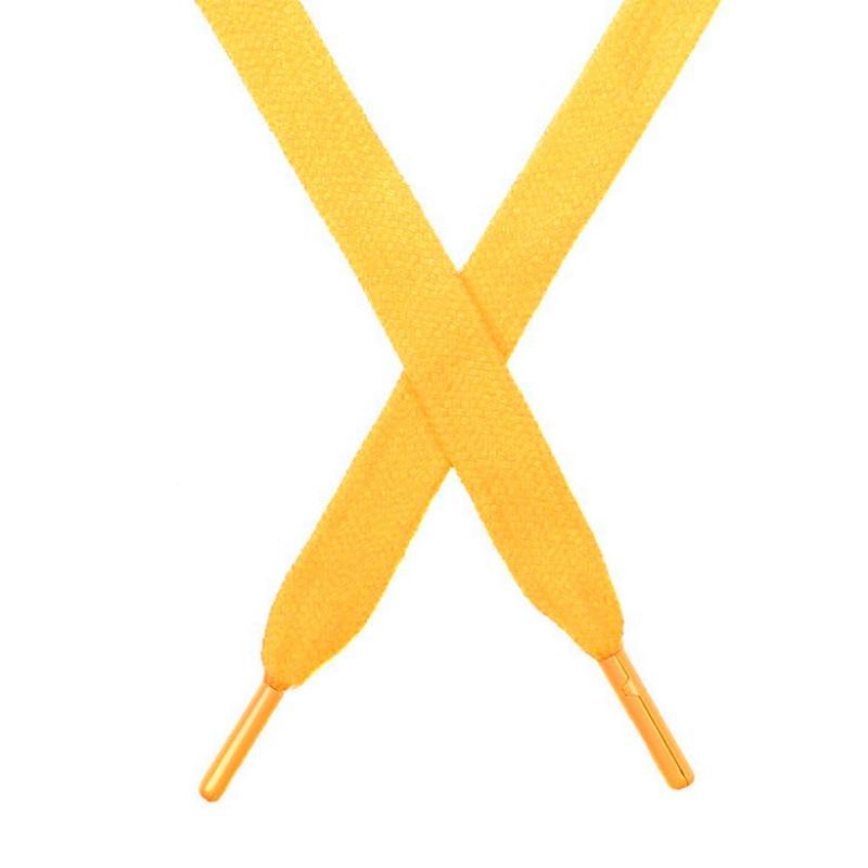 Шнур плоский чулок хлопок 1,2*130-135см с наконечником, цв:кукурузный