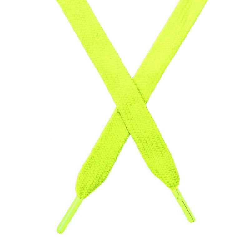 Шнур плоский чулок хлопок 1,2*130-135см с наконечником,цв:лимонный неон