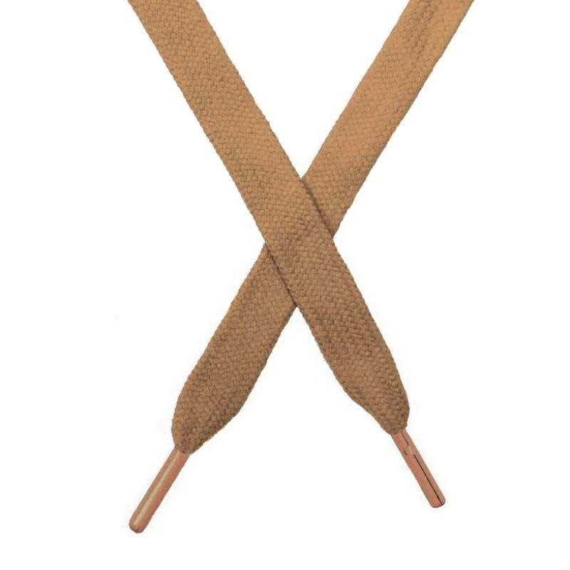 Шнур плоский чулок хлопок 1,2*130-135см с наконечником,цв:оранжево-коричневый