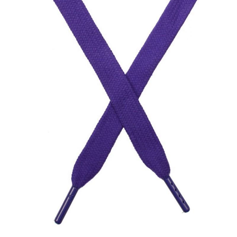 Шнур плоский чулок хлопок 1,2*130-135см с наконечником,цв:фиалка