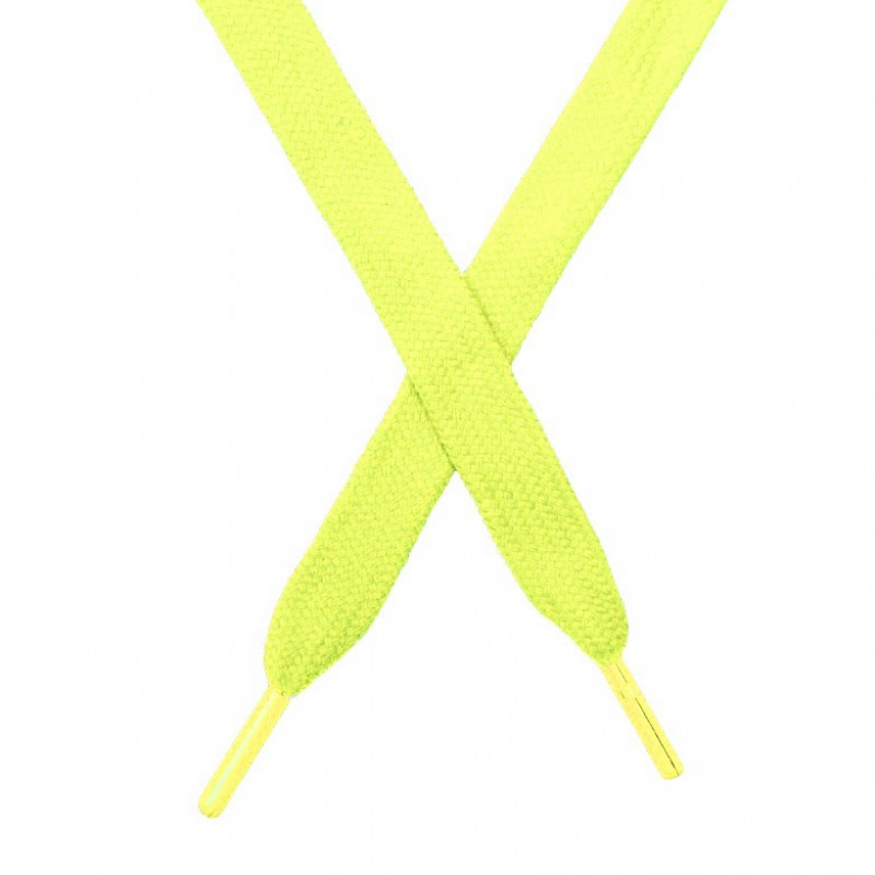 Шнур плоский чулок хлопок 1,2*130-135см с наконечником,цв:лайм