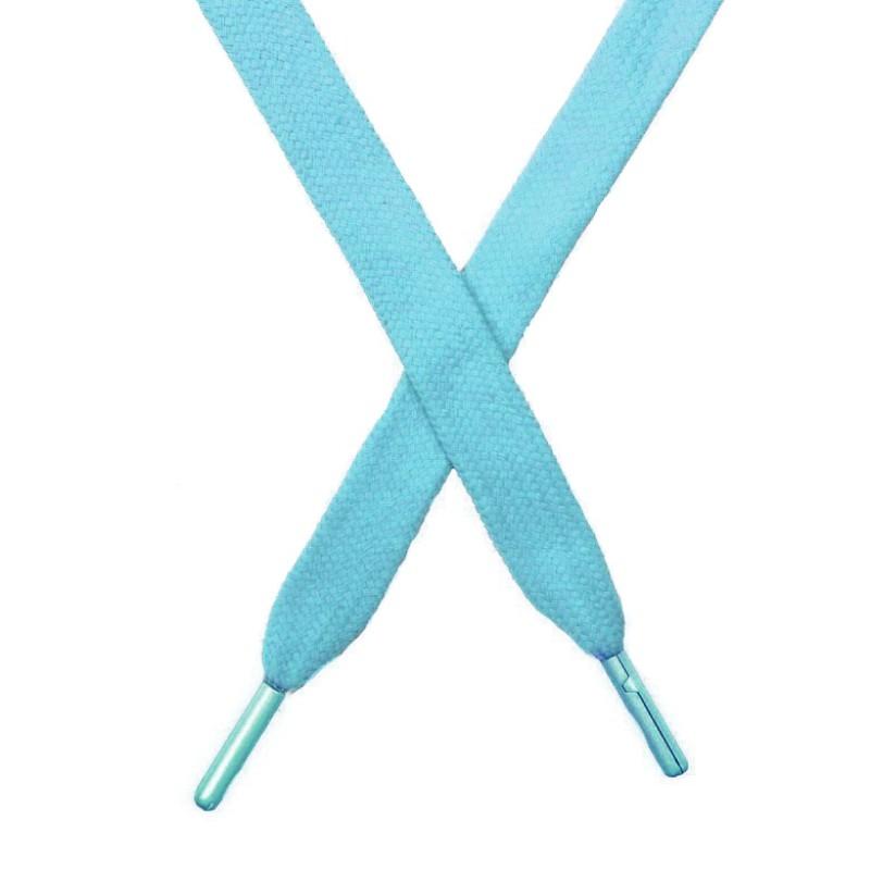 Шнур плоский чулок хлопок 1,2*130-135см с наконечником,цв:голубой