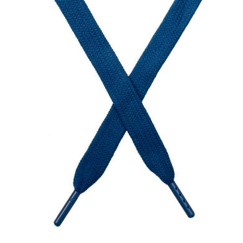 Шнур плоский чулок хлопок 1,2*130-135см с наконечником,цв:сине-зеленый