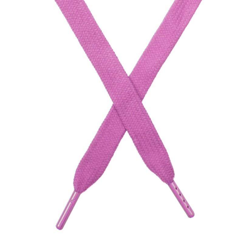 Шнур плоский чулок хлопок 1,2*130-135см с наконечником,цв:т.розовый