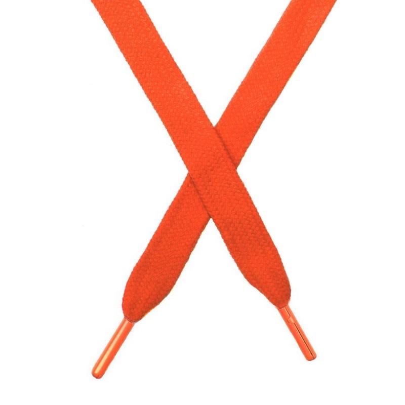 Шнур плоский чулок хлопок 1,2*130-135см с наконечником,цв:морковный