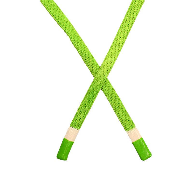 Шнур плоский полиэстер 1*130см с наконечником, цв:зеленый неон