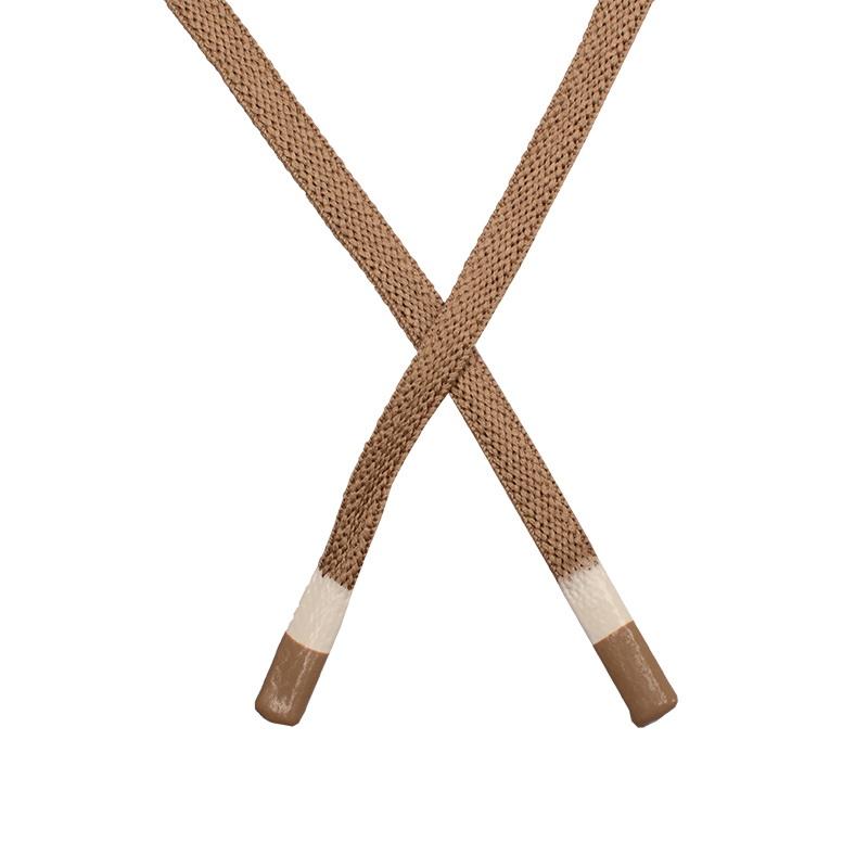 Шнур плоский полиэстер 1*130см с наконечником, цв:латте