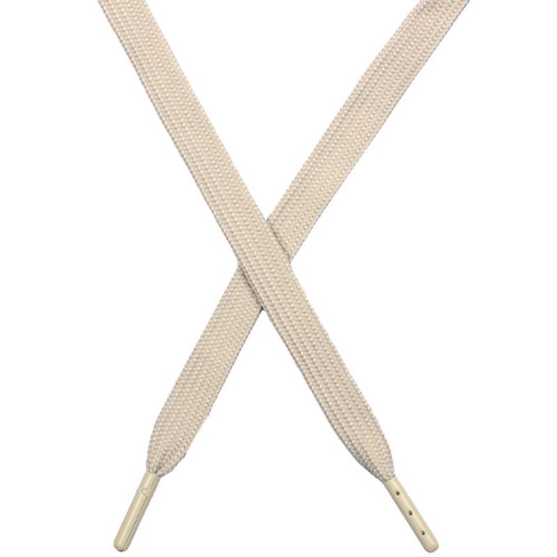 Шнур плоский чулок полиэстер 1*133см с наконечником, цв: серый