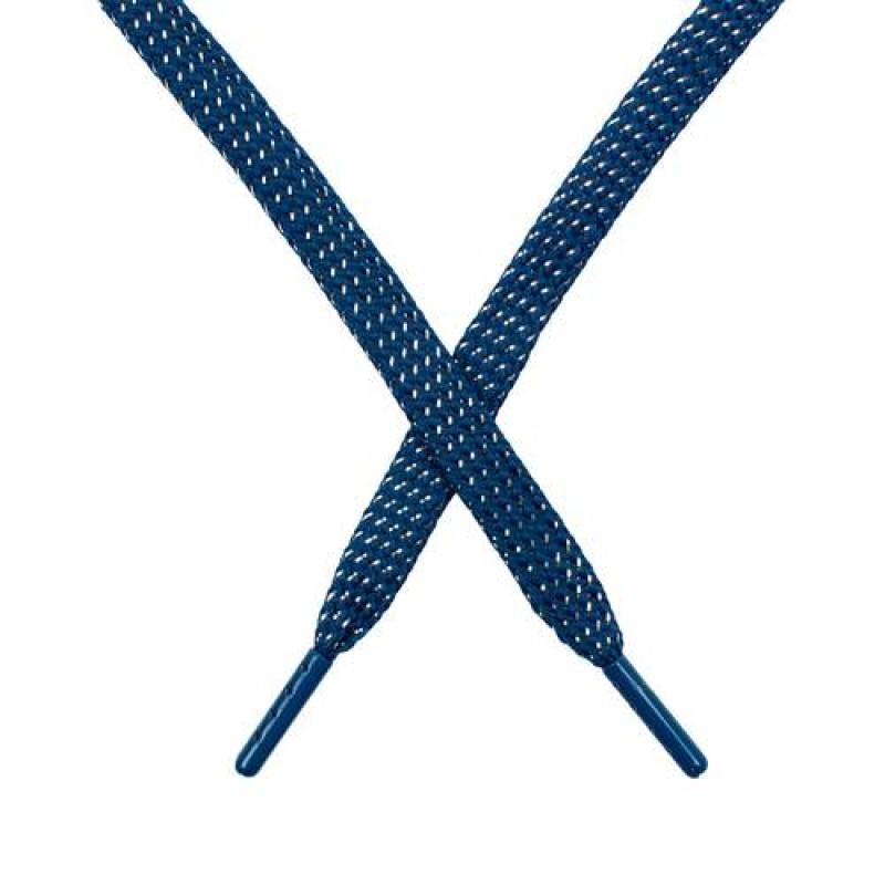 SALE Шнур плоский чулок полиэстер/люрекс  0,8*119см, цв: синий