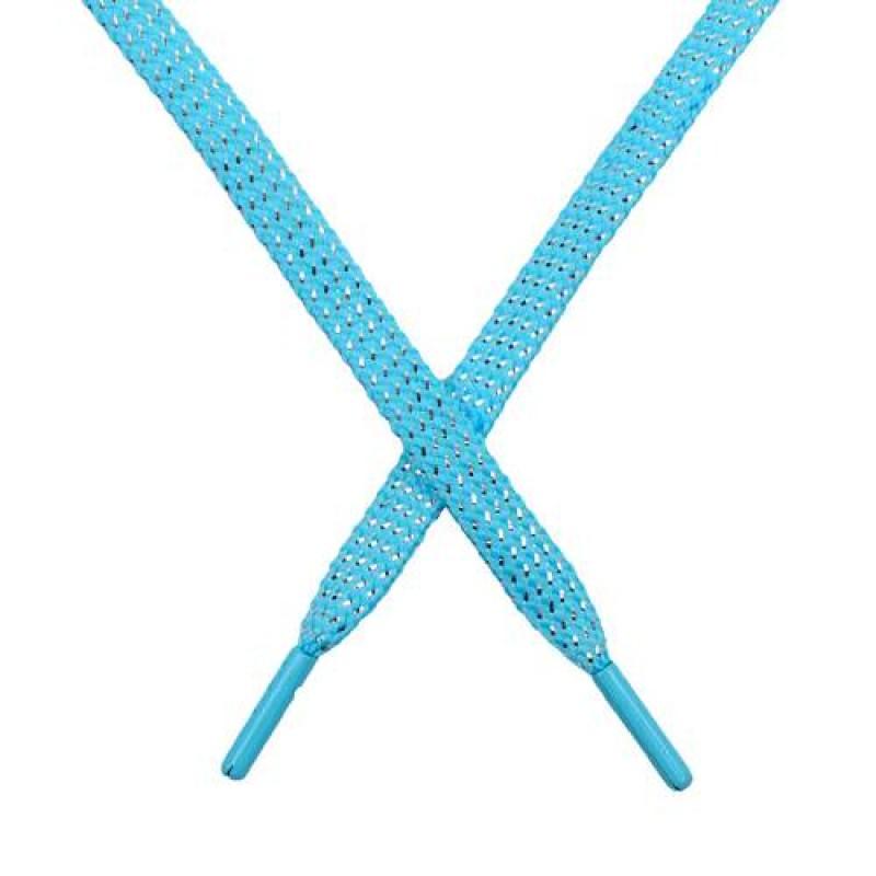 SALE Шнур плоский чулок полиэстер/люрекс  0,8*119см, цв: голубой