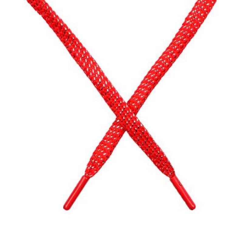 SALE Шнур плоский чулок полиэстер/люрекс  0,8*119см, цв: красный