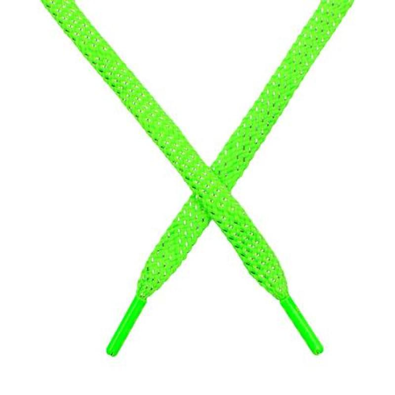 SALE Шнур плоский чулок полиэстер/люрекс  0,8*119см, цв: салатовый неон