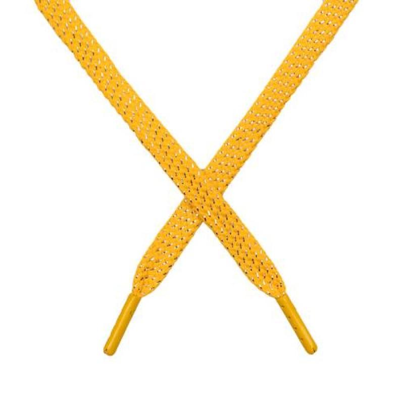 SALE Шнур плоский чулок полиэстер/люрекс  0,8*119см, цв: жёлтый