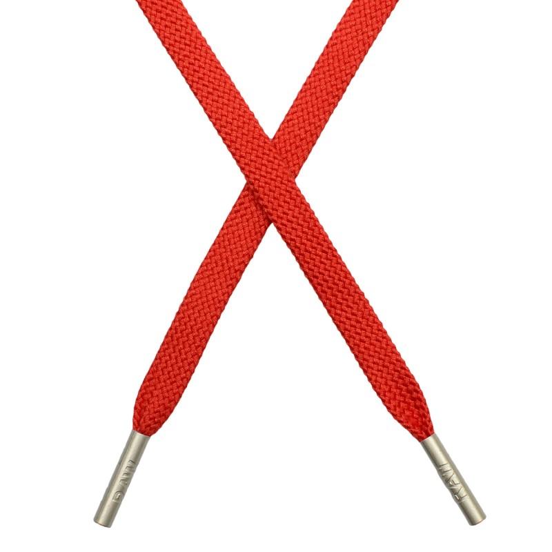 Шнур плоский плетеный поликоттон 0,9х135см,с наконечником, цв: оранжево-красный