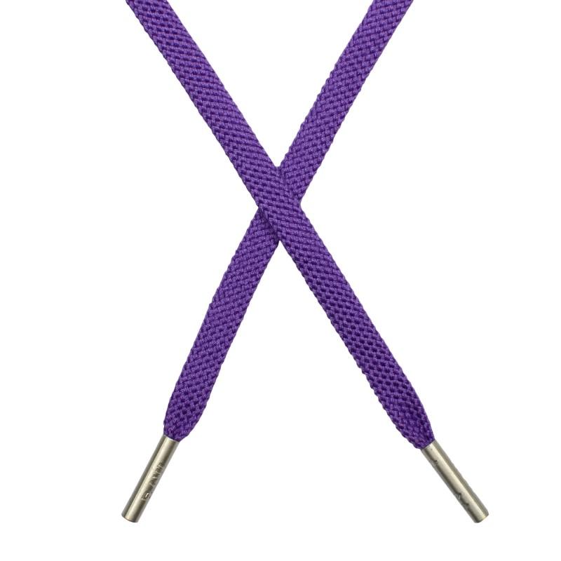 Шнур плоский плетёный поликоттон 0,9х135см, с наконечником, цв: аметист