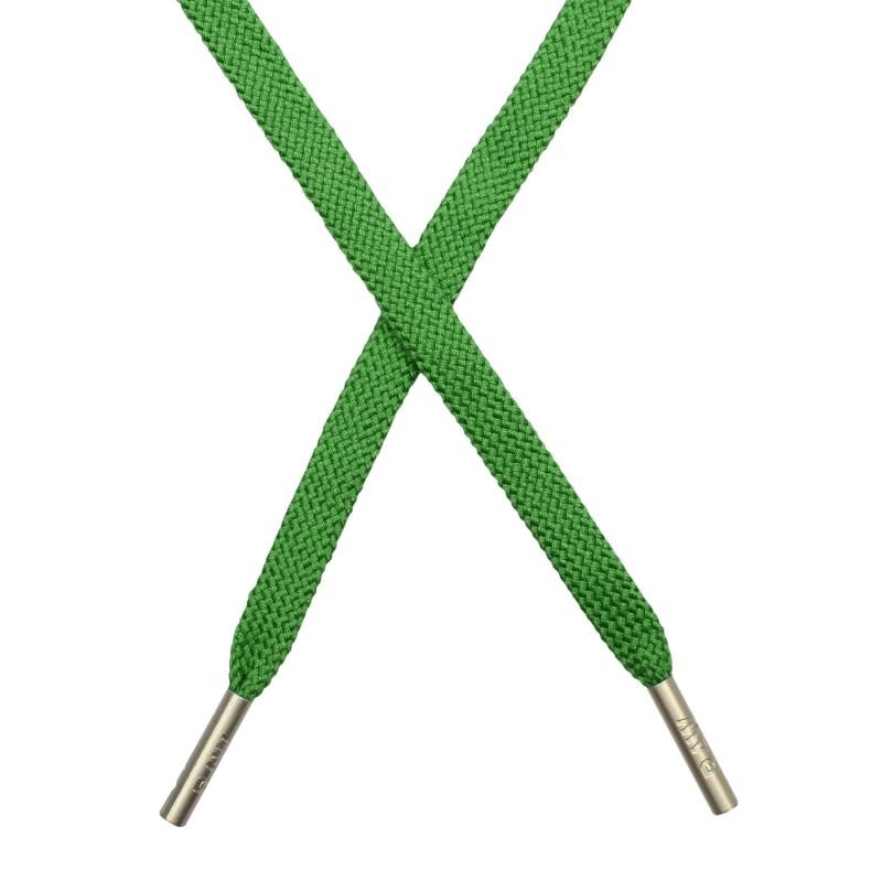 Шнур  плоский плетёный поликоттон 0,9х135см,с наконечником, цв:  лесная зелень