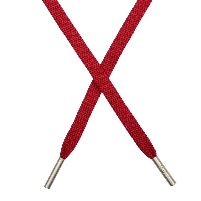 Шнур плоский плетёный поликоттон 0,9х135см, с наконечником, цв: ягодный