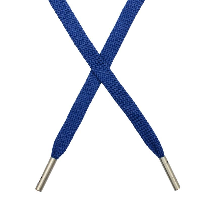 Шнур плоский плетёный поликоттон 0,9х135см, с наконечником , цв:сапфировый