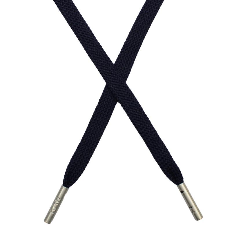 Шнур плоский плетёный поликоттон  0,9х135см, с наконечником , цв:т.чернильно-синий