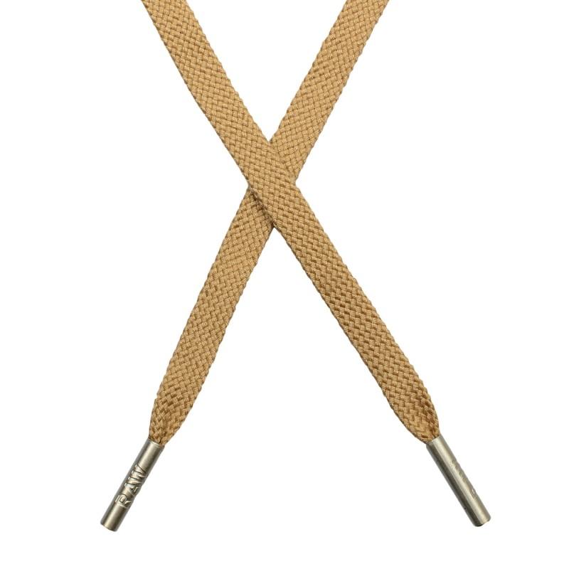 Шнур плоский плетёный поликоттон  0,9х135см, с наконечником , цв:крем-брюле