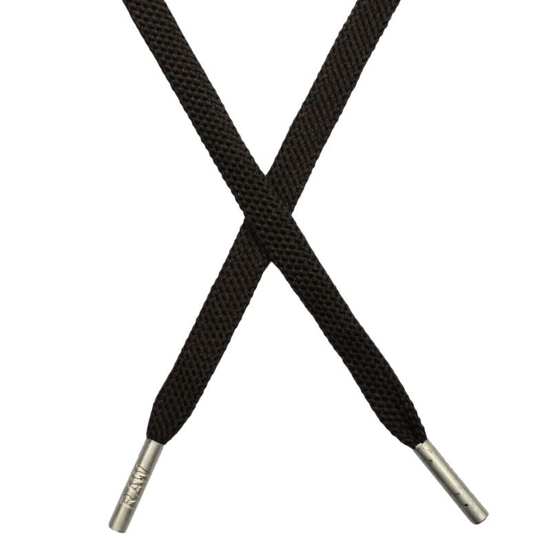 Шнур плоский плетёный поликоттон  0,9х135см, с наконечником , цв:т.серый