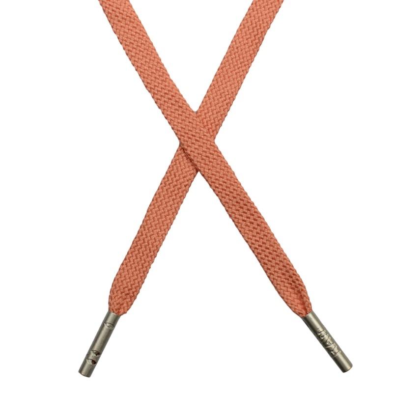 Шнур плоский плетёный поликоттон  0,9х135см, с наконечником , цв:лососевый