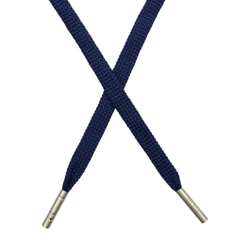 Шнур плоский плетёный поликоттон  0,9х135см, с наконечником , цв:синий