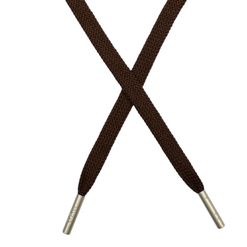 Шнур плоский плетёный поликоттон  0,9х135см, с наконечником , цв:шоколадный