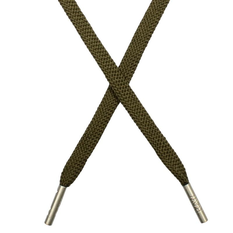 Шнур плоский плетёный поликоттон  0,9х135см, с наконечником , цв:бежевый хаки