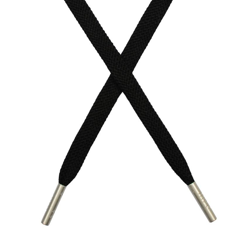 Шнур плоский плетёный поликоттон  0,9х135см, с наконечником , цв:черный