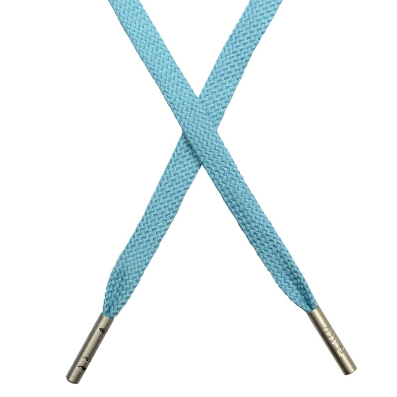 Шнур плоский плетёный поликоттон  0,9х135см, с наконечником , цв:бирюзово-голубой