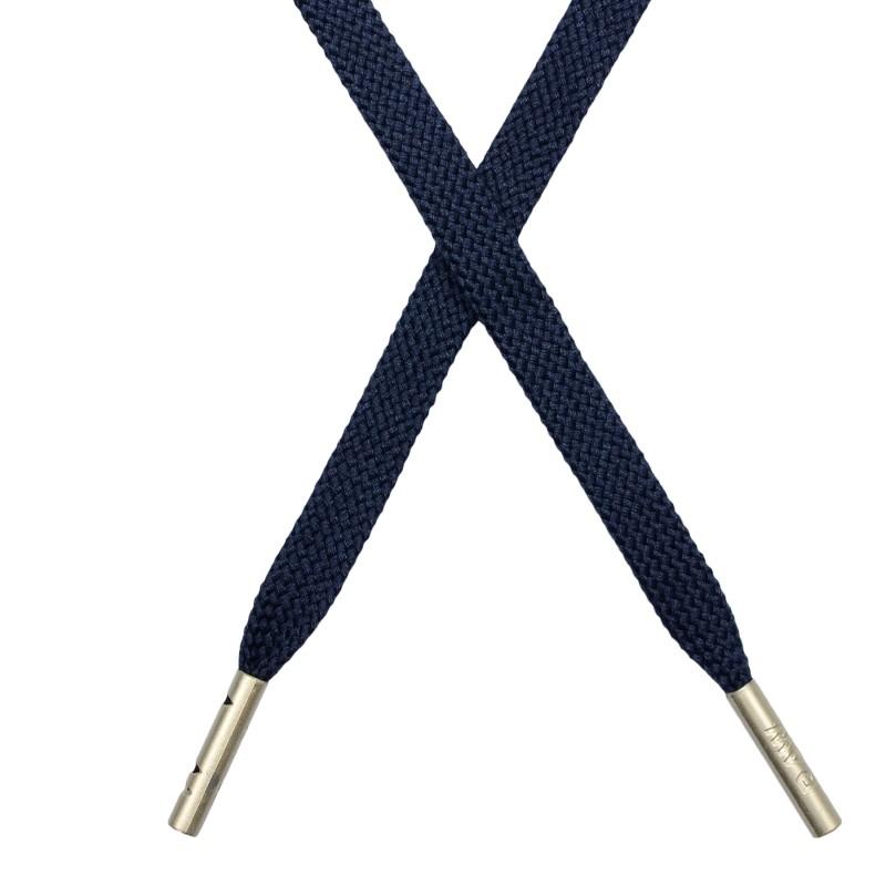 Шнур плоский плетёный поликоттон  0,9х135см, с наконечником , цв:т.синий